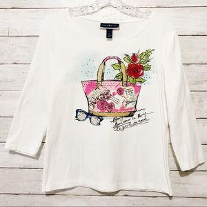 Karen Scott Graphic 3/4 Sleeve Tee Shirt Sz S